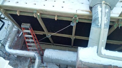 Cooling Tower exterior view of fill in winter