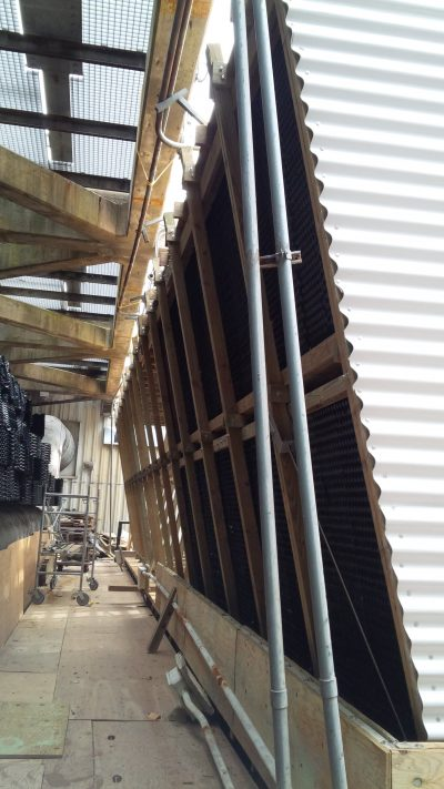 Cooling Tower side view of new fill